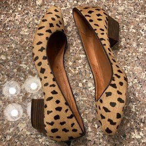 Madewell Quinn leopard cheetah calf hair shoes